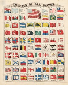 Schonberg & Co. Date: 1865 Short Title: The Flags of All Nations. Religions and Races of the World. Army History, Ap World History, Mystery Of History, All World Flags, The World Race, All Country Flags, Global Map, Australian Flags, Nautical Flags