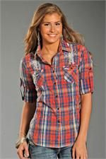 Rock and Roll Cowgirl Women's Red Blue Plaid White Wings Shirt