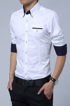White Cotton Squared-Off Collar Classic Mens Shirt                                                                                                                                                                                 More