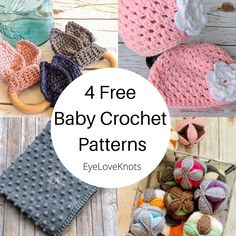Four Free Crochet Patterns for Baby Gifts Curated by DoubleKnottedCrochet for EyeLoveKnots Free Knitting, Free Crochet, Crochet Baby, Cool Patterns, Crochet Patterns, Crab Stitch, Crochet For Beginners, Beginner Crochet, Make Blanket