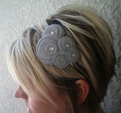 Flower Headband...felt...Five Flower Cluster Headband (silver gray). $13.00, via Etsy.