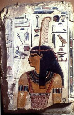 A fragment of a wall relief showing the upper part of an image of the goddess Ma'at wearing ostrich feather of truth, a tripartite wig, a wide usekh collar, bracelets, and a tunic supported by shoulder-straps. Her head is surmounted by her emblem, a feather, the symbol of truth and justice. Reign of Seti I. New Kingdom, 19th Dynasty, ca. 1290-1279 BC. Now in the National Archaeological Museum of Florence.