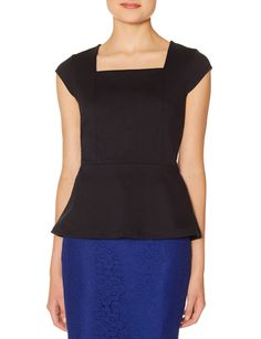 Ponte Peplum Top | Square Neck Peplum Top | THE LIMITED