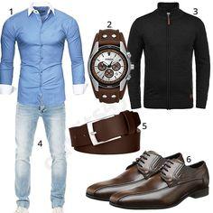 Herren-Outfit mit dunkelbraunen Schuhen, Ledergürtel und Uhr (m0482)
