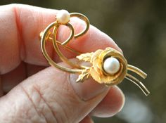 Stunning Vintage Gold and Pearl Brooch Pin Clip  by StudioVintage