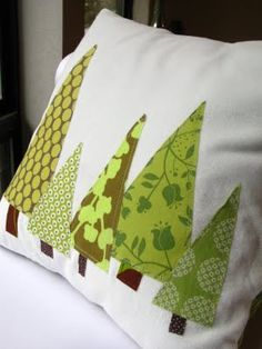 Modern Tree Pillow Cover - Christmas Trees In Green, Tall Pines (featured In…