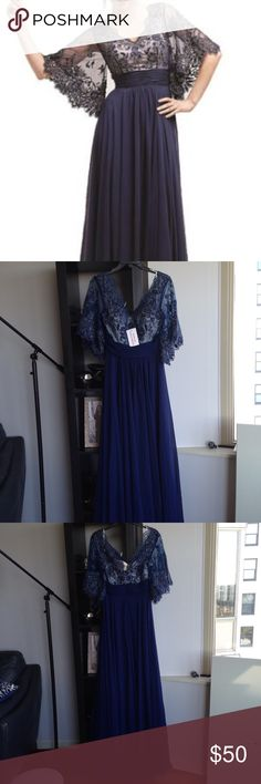 New navy gown, embroidered and chiffon bottom Perfect for your wedding wether a guest or mother of the bride.   Selling on Amazon for $80 offering for $50 Meier Dresses Maxi