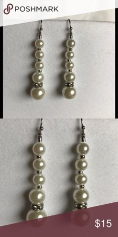 """WHITE HOUSE BLACK MARKET PEARL EARRINGS NWOT WHBM PIERCED PEARL EARRINGS WITH RHINESTONE BEAD. CHECK OUT MY CLOSET FOR MATCHING BRACELET. APPROX DROP 1  1/2"""". SORRY NO TRADES. White House Black Market Jewelry Earrings"""