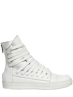 6872400704 KRIS VAN ASSCHE - LACE UP CALFSKIN HIGH TOP SNEAKERS - LUISAVIAROMA Leather  High Tops