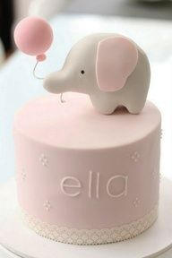Elephant Cake - - In Love ... I always had a pink elephant that my nannie gave me ... and itll be all over our first girls nursery :)