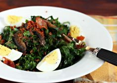 Kale Salad with Mushroom and Mustard Vinaigrette (great for all phases) Ingredients: Phase 1-3 dieters may not have cooked onions. Bell pepper could be used in place of onions. 2 whole eggs and 2 egg whites hard boiled 6 cups very thinly sliced kale (remove the stems )2 tsp extra virgin olive oil