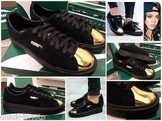 PUMA Suede Platform Creepers Metallic Gold Trainers Sneakers Shoes Rihanna UK7.5