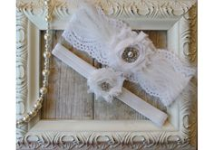 Vintage Inspired Bridal Garter Set with White Chiffon Rosettes, Rhinestones and Exquisite White Feathers, Wedding Garter Set - TheWeddingMile.com