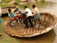 Unloading a Motorcycle out of Reed Coracle Boat, Near Hampi. Hampi India, Karnataka, Om Namah Shivaya, Asia, Rural India, Indian Colours, Indian People, Largest Countries, My Land
