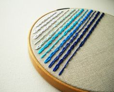 Embroidery.  Ombre. Blue. Linen.