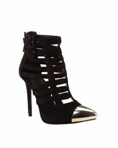 Hot #boots #shoes #black #silver metal tip