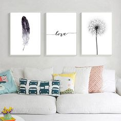 Black and White Dandelion Feathers Poster and Print Letter Love Wall Art Canvas Painting What is Decoration? Decoration may be … Love Wall Art, Framed Wall Art, Art Minimaliste, Wal Art, White Dandelion, Dandelion Wall Art, Feather Wall Art, Black And White Canvas, Black White