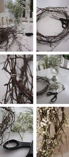 #wreath tutorial- that would be a pretty spring wreath, branches and baby's breathe