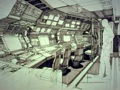 rainbow in your eyes — rocketumbl: Syd Mead Spaceship Interior, Futuristic Interior, Spaceship Design, Beautiful Sketches, Cool Sketches, Cyberpunk, Syd Mead, Sci Fi Rpg, Bg Design