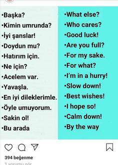 English Vocabulary, English Grammar, English Language, Beautiful Mind Quotes, Learning Languages Tips, Turkish Lessons, Learn Turkish Language, Life Hacks For School, Learn English Words