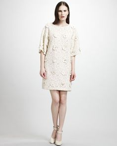 Lace Shift Dress With Floral Embroidery by Chloe at Bergdorf Goodman.