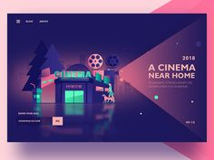 A cinema at the door of the house by 熊大渔夫 - Dribbble Creative Web Design, App Design, Design Trends, Website Design Inspiration, Layout Inspiration, Web Layout, Layout Design, Portfolio Webdesign, Affinity Designer