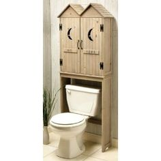 Bathroom storage with a helping of humor! Outhouse Space Saver, over the toilet storage cabinet. Outhouse Bathroom Decor, Primitive Bathroom Decor, Cabin Bathrooms, Country Bathrooms, Primitive Decor, Country Decor, Rustic Decor, Rustic Wood, Wood Plastic