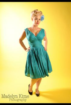 Gathered Crossover Bust Dress in Turquoise Linen by Pinup Girl Clothing $82