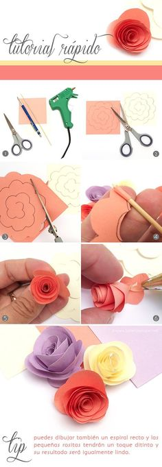 DIY Tutorial: how to make paper flowers. Easy and cute for on top of a present. Paper Flowers Diy, Felt Flowers, Flower Crafts, Fabric Flowers, Craft Flowers, Paper Flowers How To Make, Origami Flowers, Rose Flowers, Fun Crafts