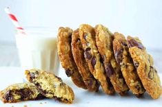 Chocolate Chip Oatmeal Cookies | King Arthur Flour: Soft and chewy cookies packed with chips, and taken beyond the standard chocolate chip cookie with the addition of nutty tasting oats.