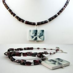 A stunning faceted Garnet necklace with a custom photo pendant.  #garnet #necklace #photojewelry