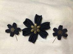Blue denim brooch & hijab pins set.