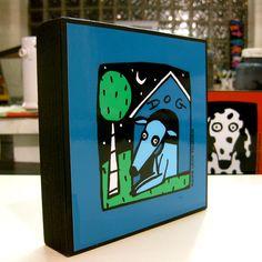 Blue Dog 5x5 Art Block PRINT by AnnesArtBlocks on Etsy, $24.00