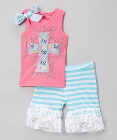 Another great find on #zulily! Blue Floral Cross Tank & Ruffle Shorts - Infant, Toddler & Girls by Ruby and Rosie #zulilyfinds