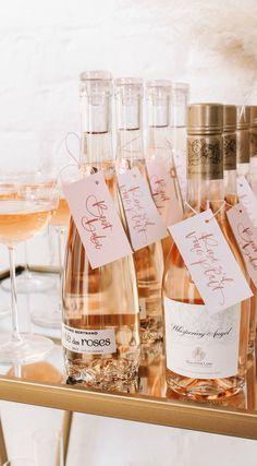 Mini Rose' Bottles as Party Favors