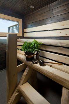 Dark panel and pale aspen combined beautifully. Honka log homes. Laundry In Bathroom, Simple Bathroom, Bathroom Ideas, Modern Saunas, Traditional Saunas, Outdoor Sauna, Sauna Design, Finnish Sauna