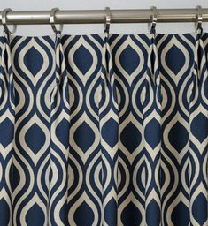 Pair of Pinch Pleat Top Curtains in Nicole Indigo Laken Navy Blue Natural Light Beige Fabric via Etsy