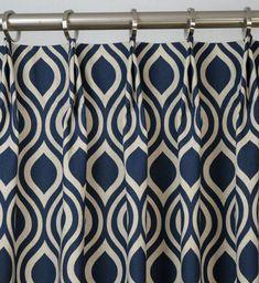 Pair of Pinch Pleat Top Curtains in Nicole Indigo Laken Navy Blue Natural Light Beige Fabric via Etsy