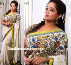 Gorgeous Kalamkari Sarees by Laksyah – South India Fashion Onam Saree, Kasavu Saree, Kerala Saree, Indian Sarees, Set Saree, Saree Gown, Sari, Kalamkari Dresses, Kalamkari Saree