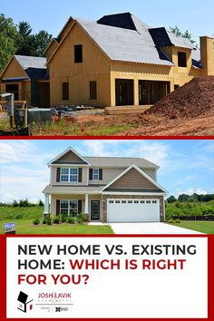 Choosing between a newly-built home and an existing home isn't always an easy task. Before making your decision, check out these differences of buying new vs existing. Buying A New Home, New Builds, Custom Homes, Building A House, The Neighbourhood, New Homes, Real Estate, Mansions, House Styles