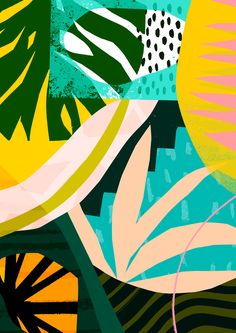 'Rainforest' www.tomabbisssmithart.com #abstract #contemporary #collage #art #pattern #design