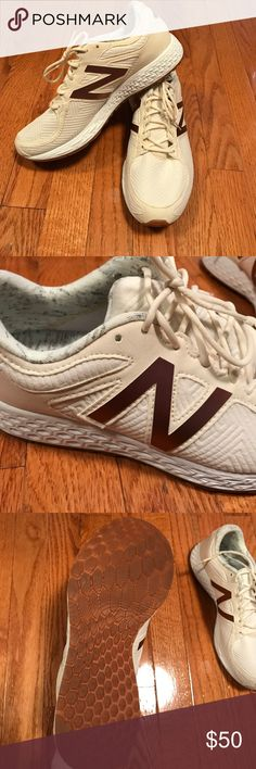 """New Balance Ivory & Rose Gold Sneakers These super unique New Balance kicks have never been worn! Bright ivory sneaker with rose gold """"N"""" and heather grey lining. Zantè Fresh Foam cushioned sole for extra comfort! New Balance Shoes Sneakers"""