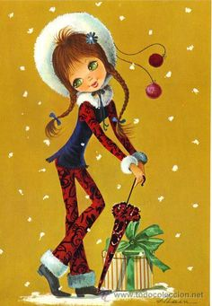 Regalos de Navidad Girl Cartoon, Cute Cartoon, Christmas Deco, Vintage Christmas, Christmas Greetings, Christmas Cards, Boy Doll, Cute Images, The Good Old Days