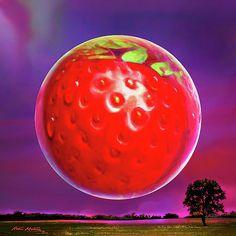 Digital Art - Strawberry Moon by Robin Moline , Strawberry Moons, Moon Time, Globe Art, Framed Prints, Canvas Prints, Summer Solstice, Free Graphics, Moon Art, Wood Print