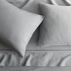 Shop linen cement sheet sets.   A super-softening wash gives this 100% linen bedding its relaxed character.  Made for easy living, grey linen slub is wash 'n' wear, no TLC needed.