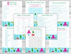 Under the sea Baby shower games set of 8 games bundle Printable INSTANT DOWNLOAD  UPrint  by greenmelonstudios under the sea baby shower by greenmelonstudios on Etsy