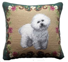 "Bichon Frise Dog - 14"" Needlepoint Dog Pillow"