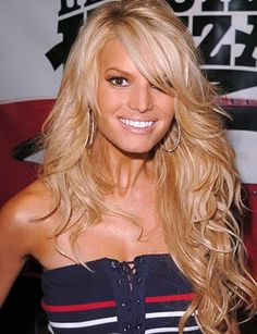 Jessica Simpson   long flowing curly hair more motivation to not cut my hair!!!