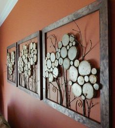 20 Charming DIY Log Ideas Take Rustic Decor To Your Home The ART in LIFE is part of Wood slice crafts - If you are DIY lovers, you will definitely love these DIY Log ideas We found really interesting ideas how to make things out of logs Diy Wall Art, Wood Wall Art, Wall Decor, Room Decor, Diy Wand, Rustic Wood, Rustic Decor, Wood Slice Crafts, Wooden Crafts