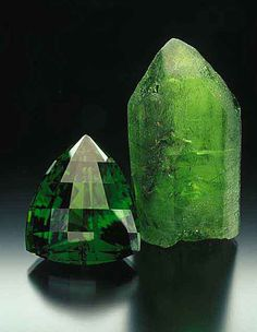 August Birthstone: Peridot. Here it is both cut and uncut.